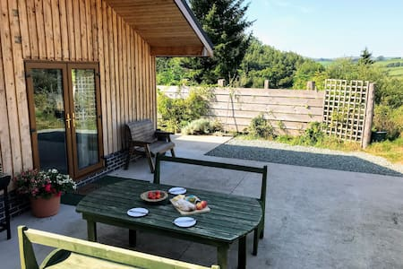 Pet friendly lodge with valley views and hot tub.