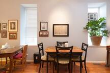 Dining table; can be expanded to seat 6-8