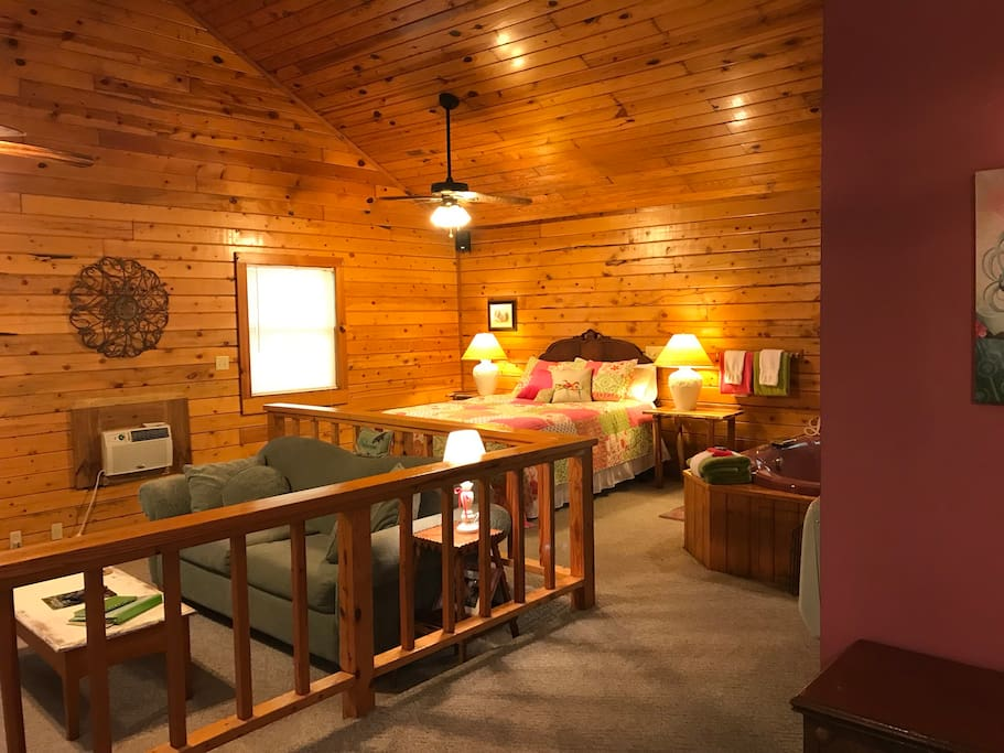 Cabin 2, Lifelong Love has a queen bed, Jacuzzi for two, Step down living room and a full kitchen.