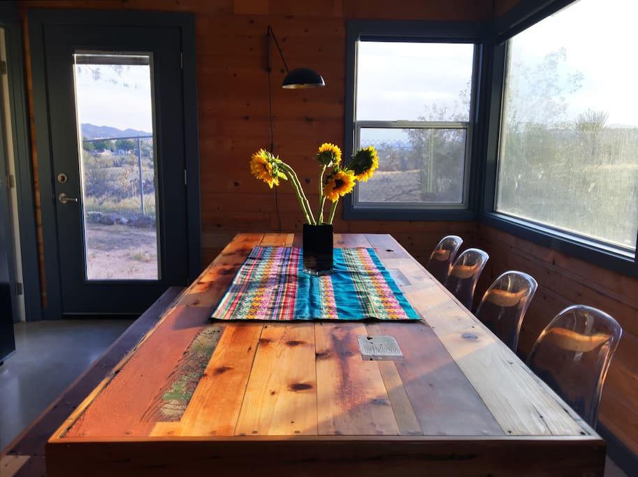 custom made dining table that seats up to 10 people