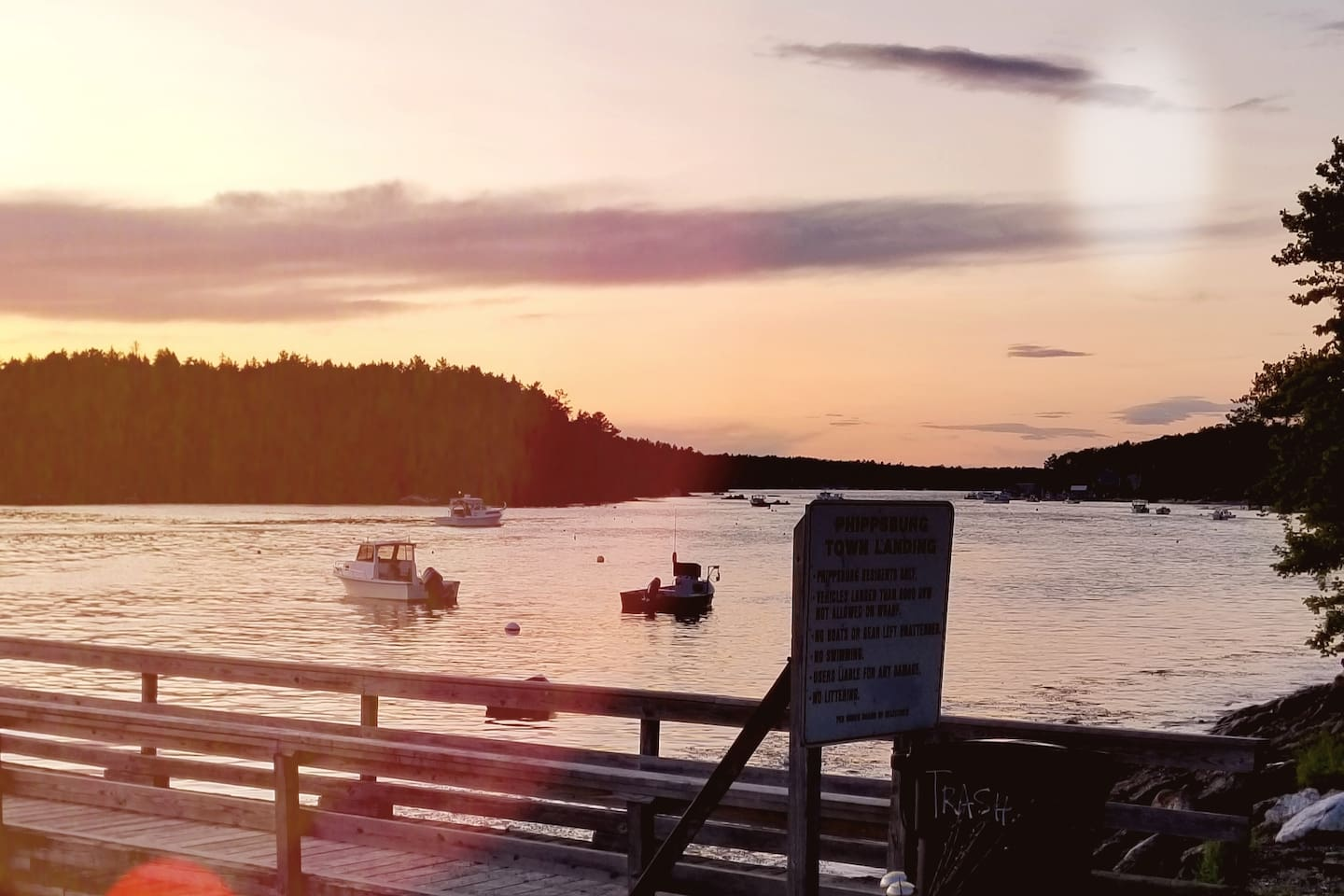 View from Phippsburg Town Wharf, ten minute lovely,  after dinner stroll!