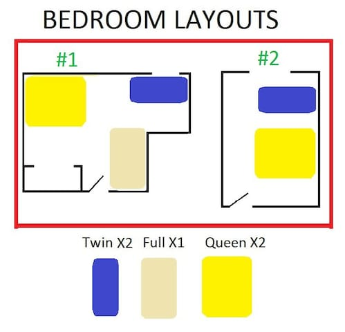 Bedroom layouts.  Twin in room #2 can be taken into the livingroom for more privacy.