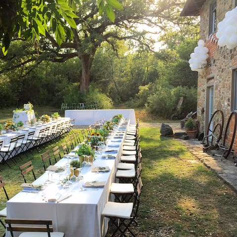 Wedding tables in front of the villa