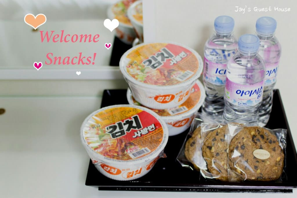 Complimentary cup noodle, cookies and drinks  Enjoy it~