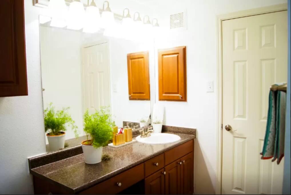 Bathroom countertop and wash area.