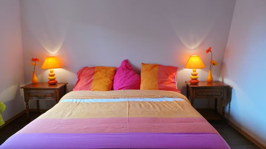 First bedroom with a 160cm wide queen size bed