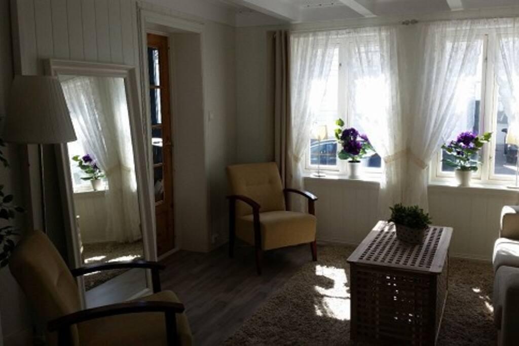 Stue med inngang til soverom