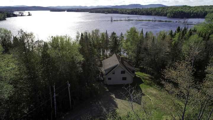 Beautiful private log home with large deck, fireplace and dock on Lake Umbagog!