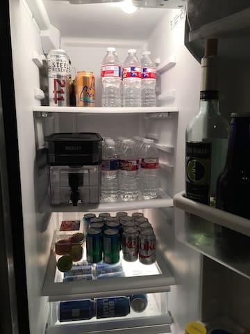 Bottle waters , sodas, adult beverage etc...