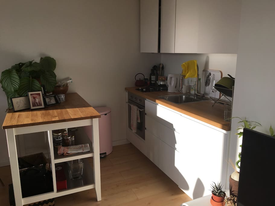 open kitchen with all suppliances