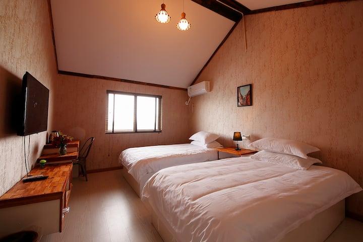 西塘独栋花园民宿 两张单人床 有停车位