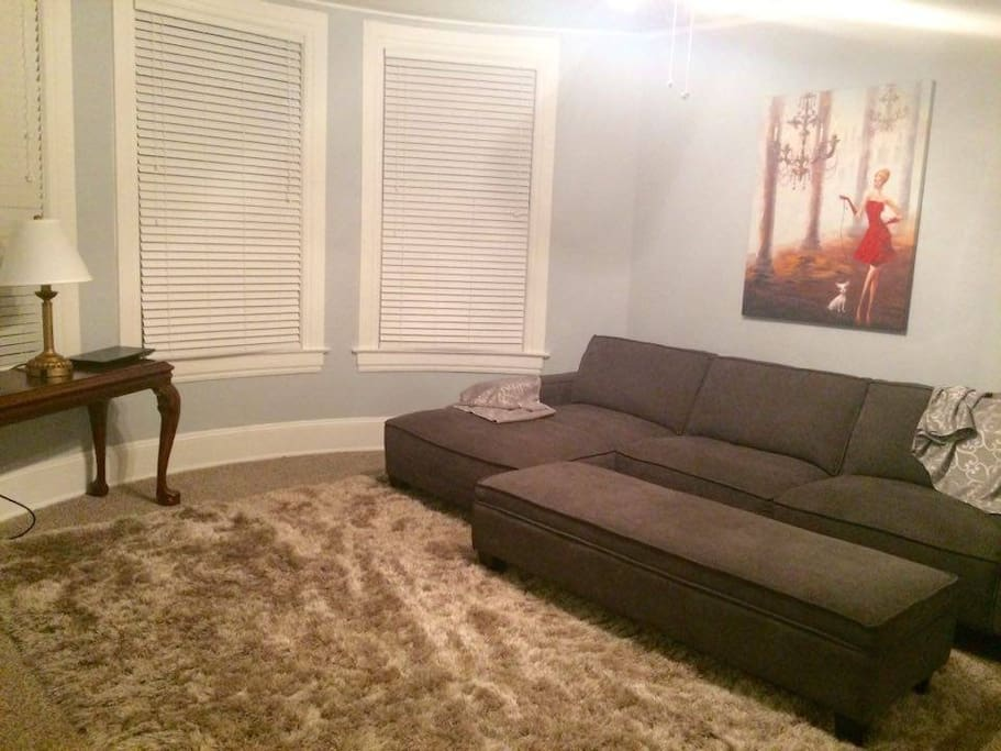 living room with fresh paint and new couch and carpet