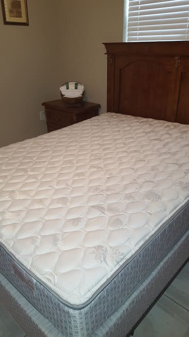 Queen size pillow top mattress and box springs and pillows are all brand new and sealed in a protective hypoallergenic cases for sanitary and allergy purposes.