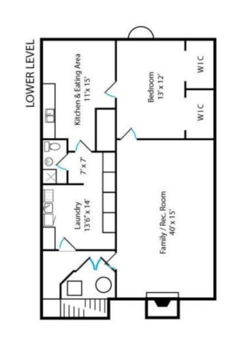 Bottom floor plan for private use. Top floor owner-occupied. Laundry room is shared space. Separate and lockable entrance for each floor.
