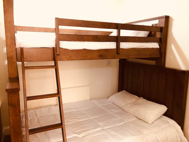 Queen Bed with Bunk bed