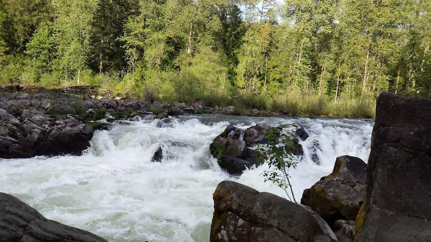 Santiam river a short walk away