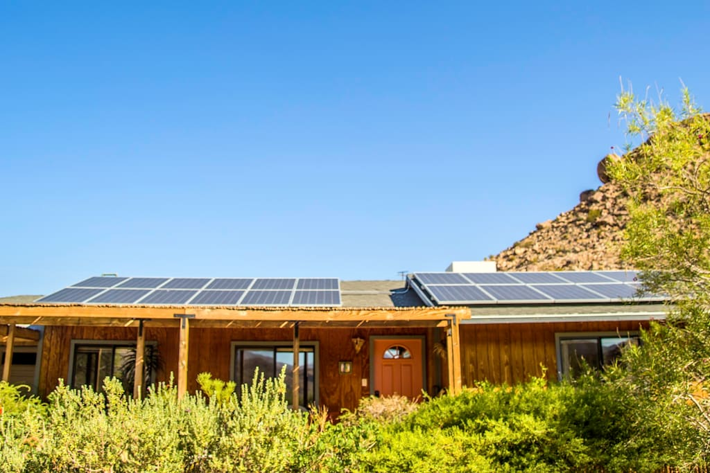 Front view of home--we have solar to help the environment