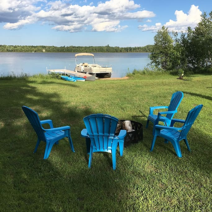 Campfire ring, camp chairs, kayaks and a canoe available.