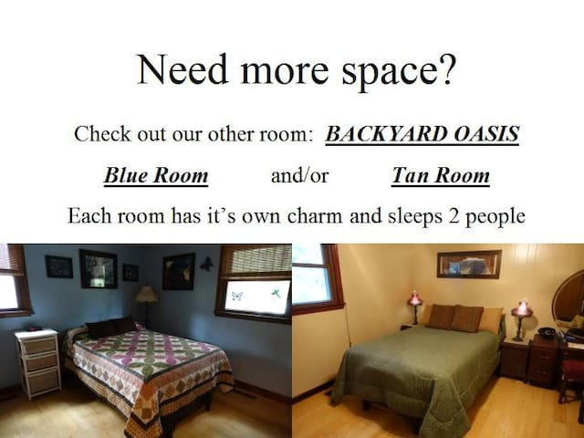 We have a second room right next door to accommodate another two people when available.  Check out our other listing!