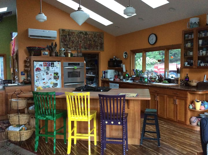 Colorful rural ranch-style house