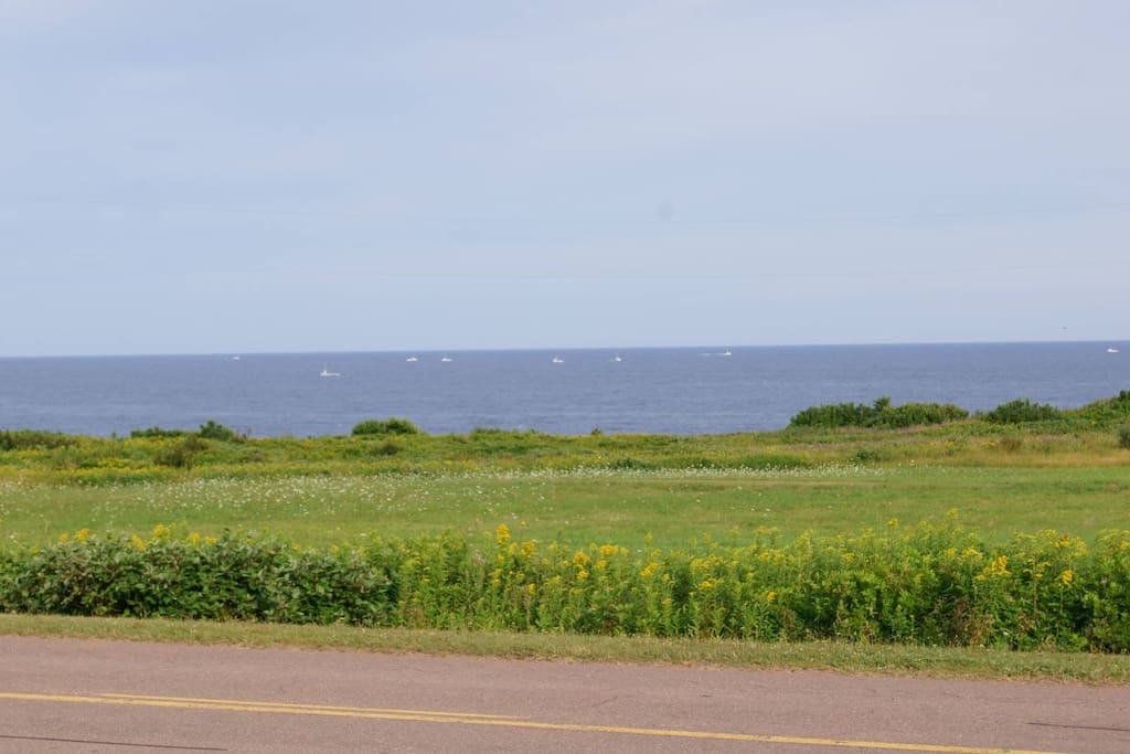 Accessible Beach - those are lobster boats in August