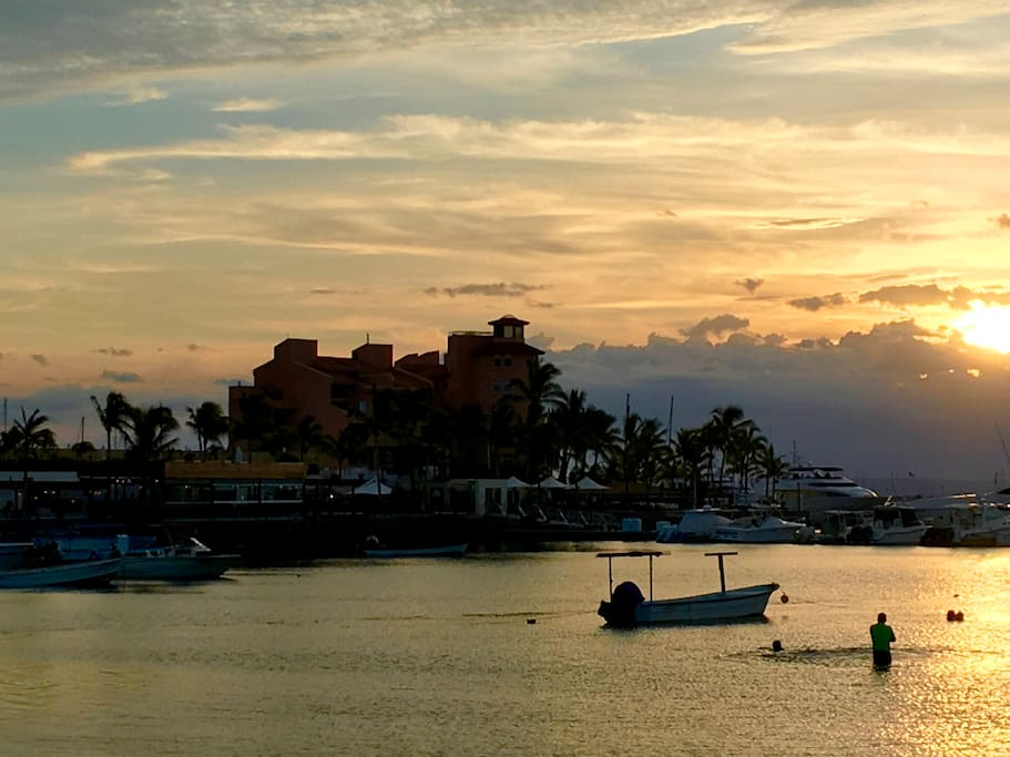 View of the building from the Malecon at sunset