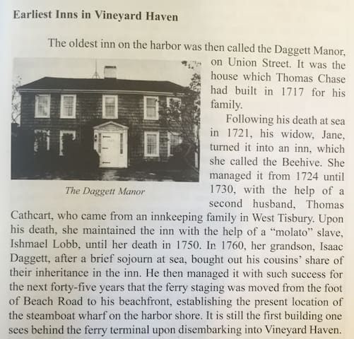 "Excerpt of the Thomas Chase House (also called The ""Daggett Manor"" from 1760-1805). From an old History of Martha's Vineyard publication."