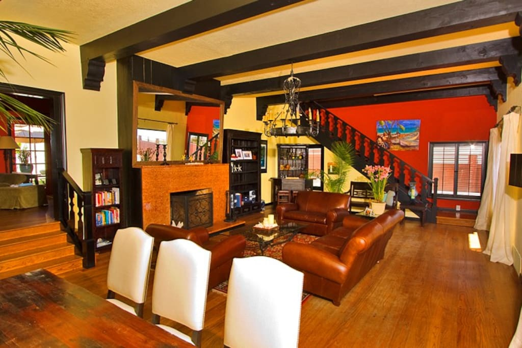 Formal dining area is open to the living room with seating for eight.