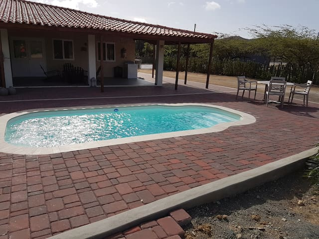 Outside terrace and shared pool