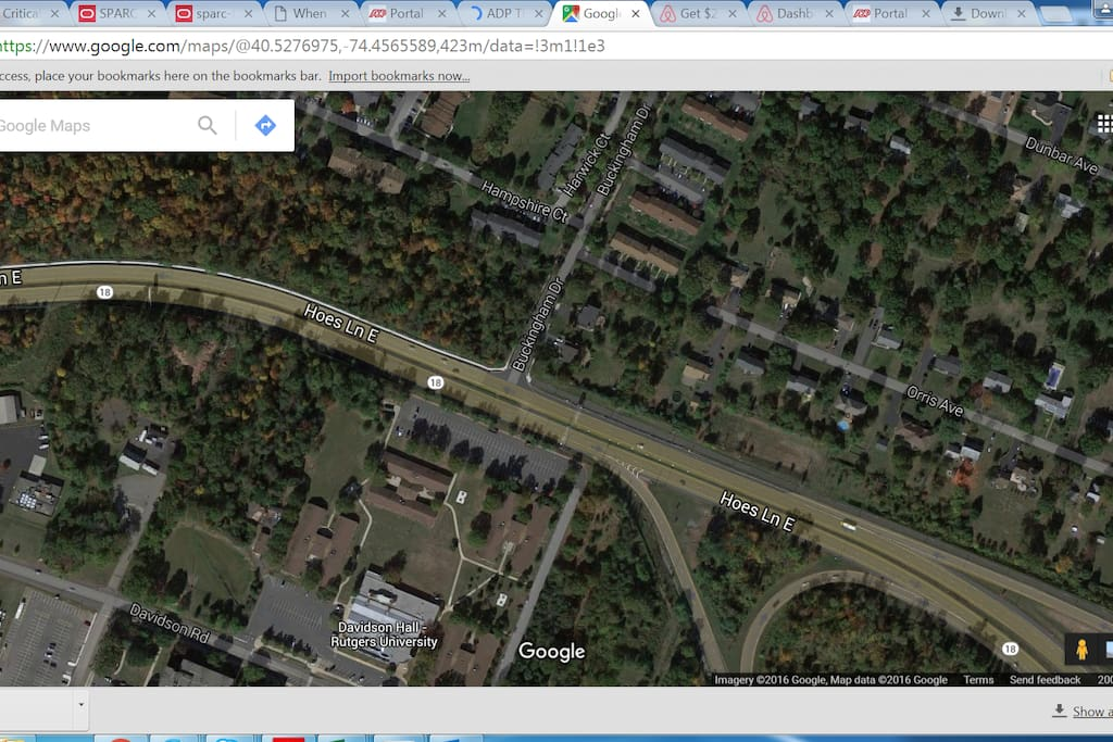 The house is at the intersection of hampshire court and harwick court, rutgers is on the other side of route 18