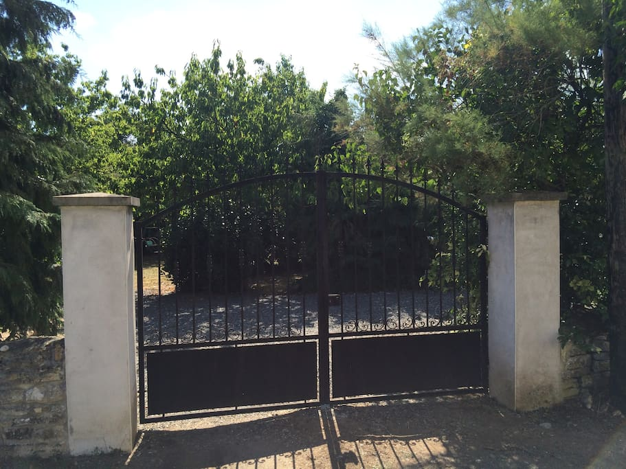 The gates to the property