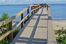 Private beach access with boardwalk