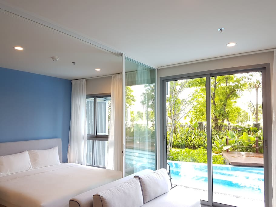 You can access swimming pool from your room.