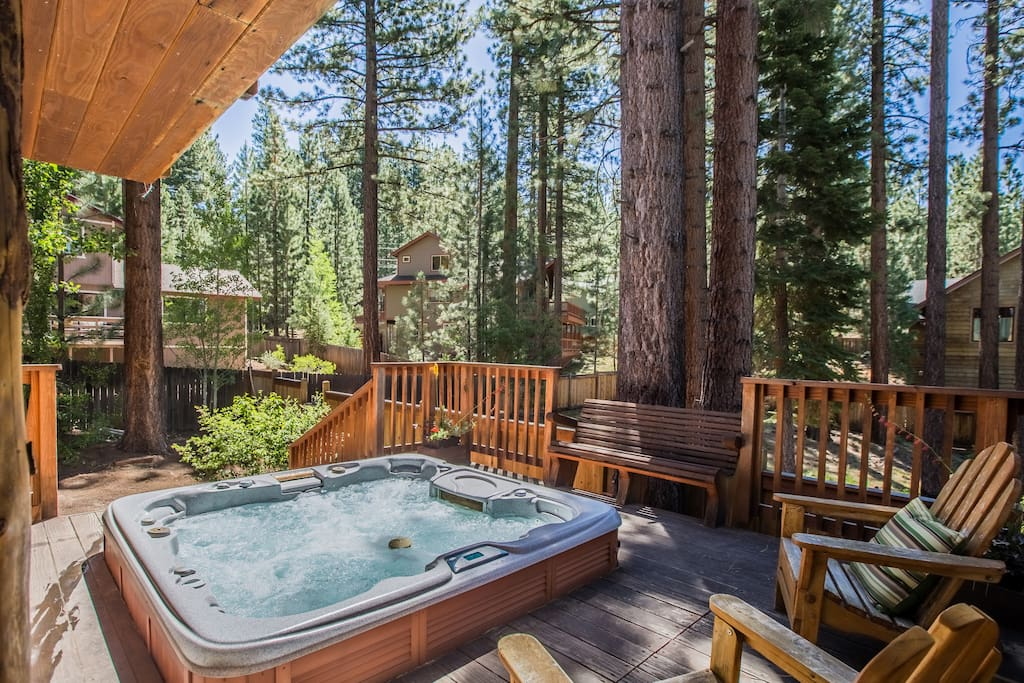 Large sunken hot tub on mid-level deck - perfect for relaxing after a day on the mountain!