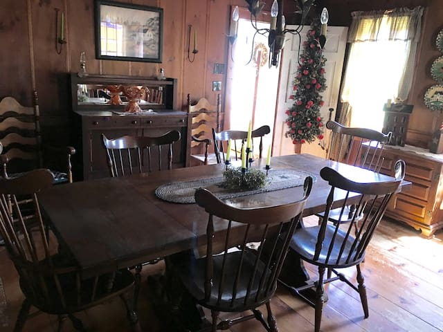 Enjoy eating breakfast in the dining room and when there is a chill in the air enjoy the warm fireplace..