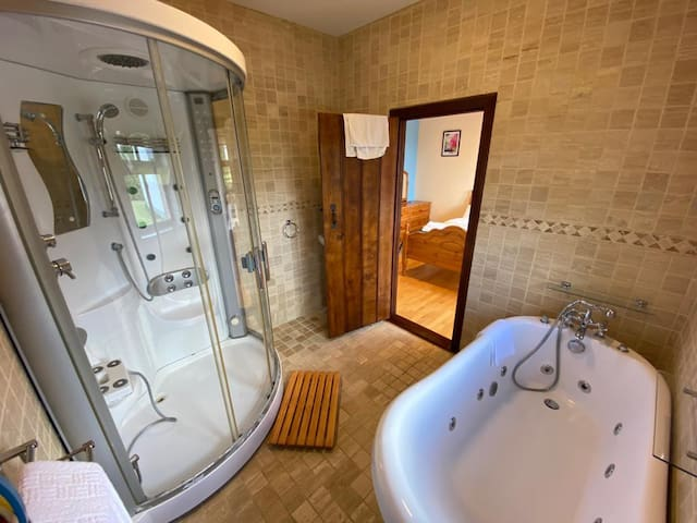 Downstairs Jacuzzi Bath and Steam Shower