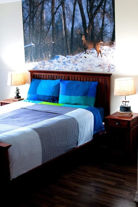 Master bedroom with queen size bed (view to the forest)