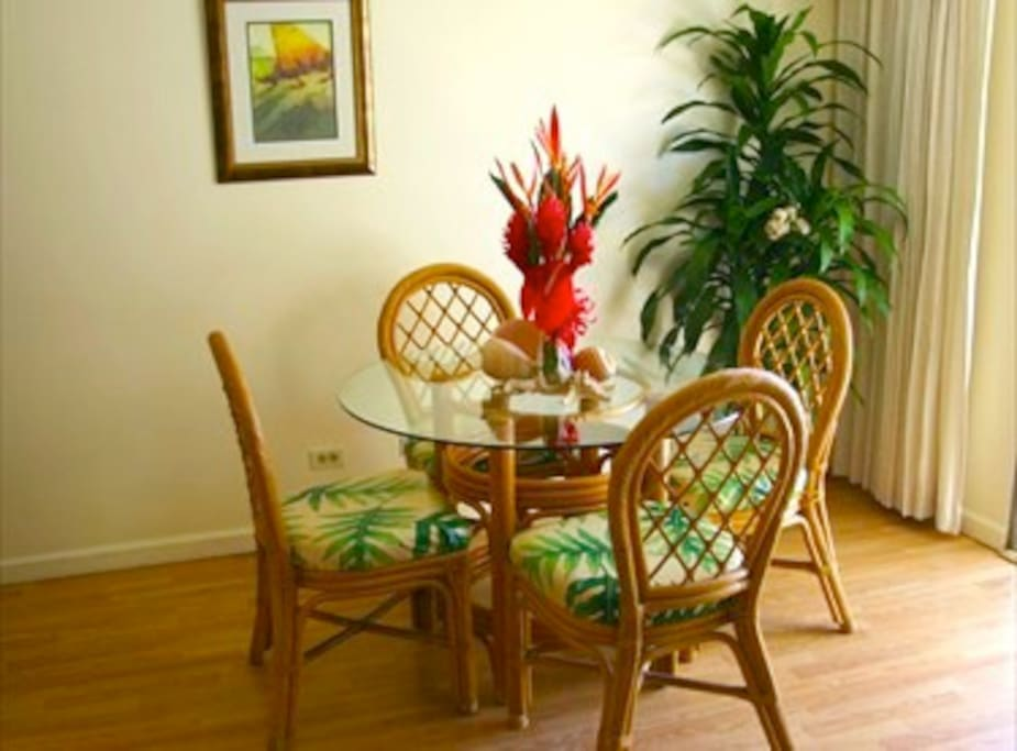 very cozy hawaiian style dining area  with great ocean view
