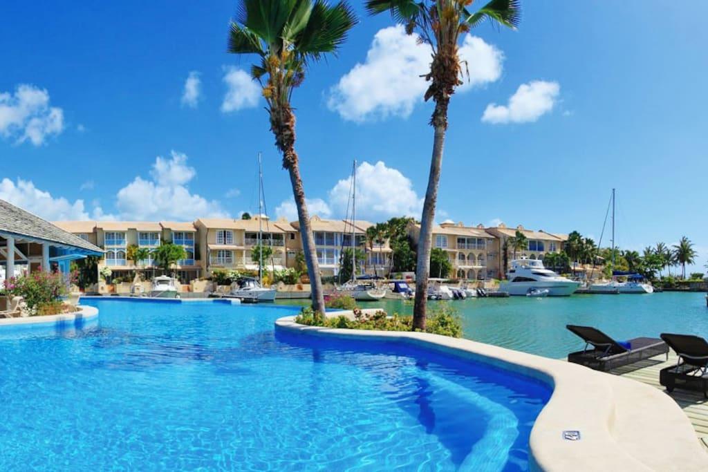 yacht club and communal pool