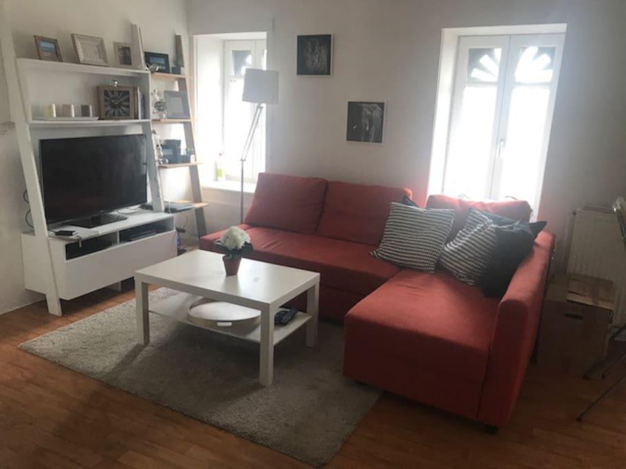Coin salon avec TV, internet, canapé-convertible
