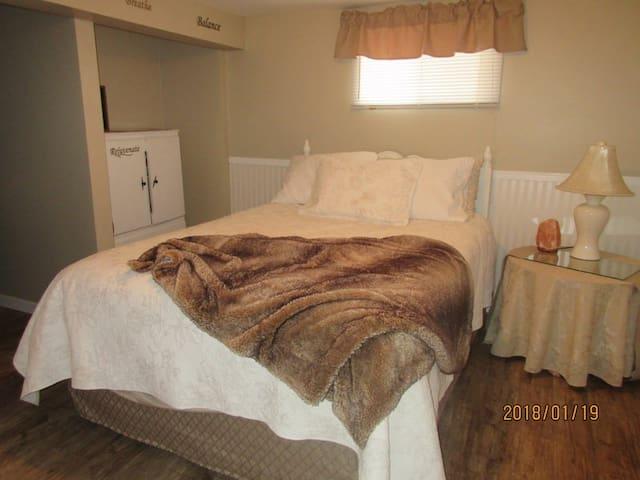 Queen bed lower level/ walk in closet