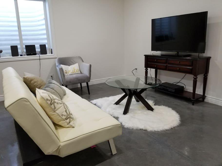 Basement TV room.
