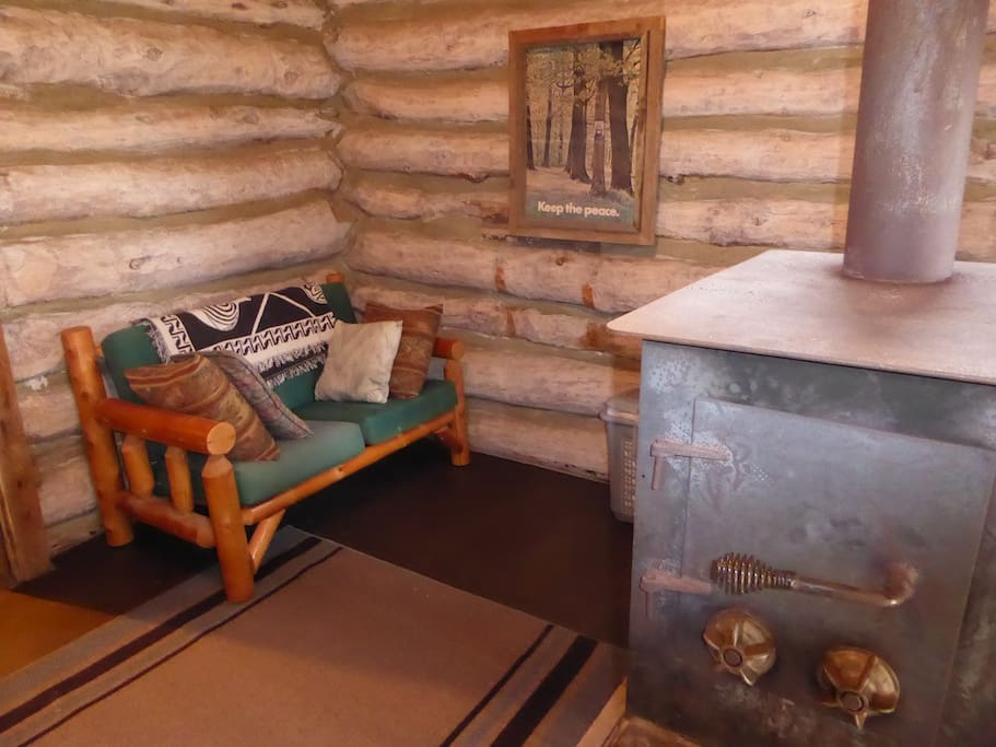 Couch and wood stove