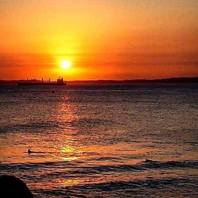 Pôr do sol na praia do Porto da Barra ( em pleno inverno baiano 5/08/18)