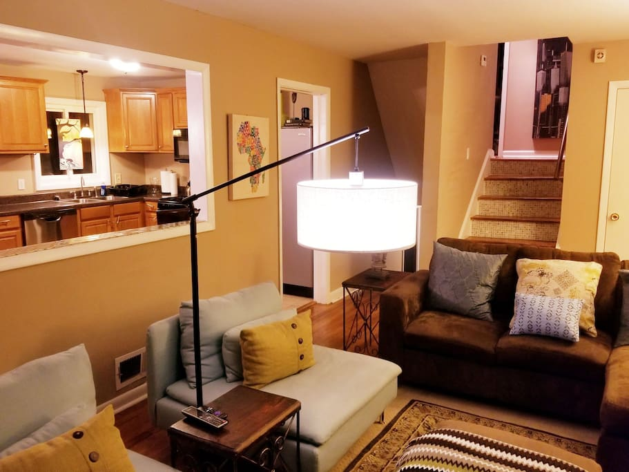 The living  area of the C O C  (Corporate Owned Comfort) have an open floor plan of combined  living/dining/kitchen area.