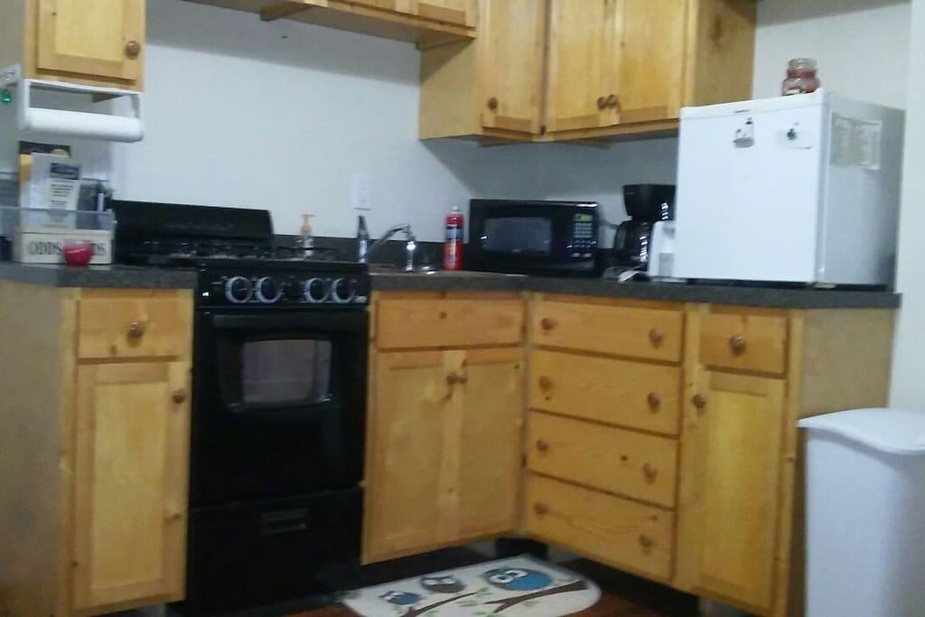 Kitchenette with stove and mini fridge