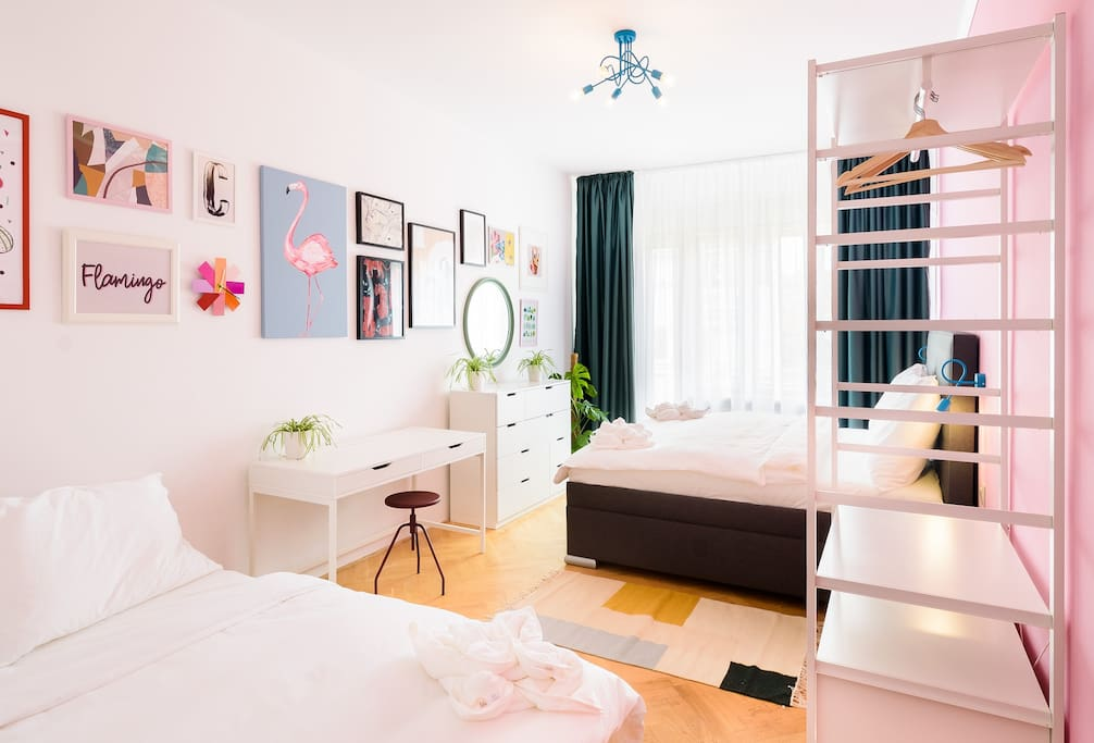 We called this apartment Pink Flamingo, we hope you will love its vibrant colours and great there!