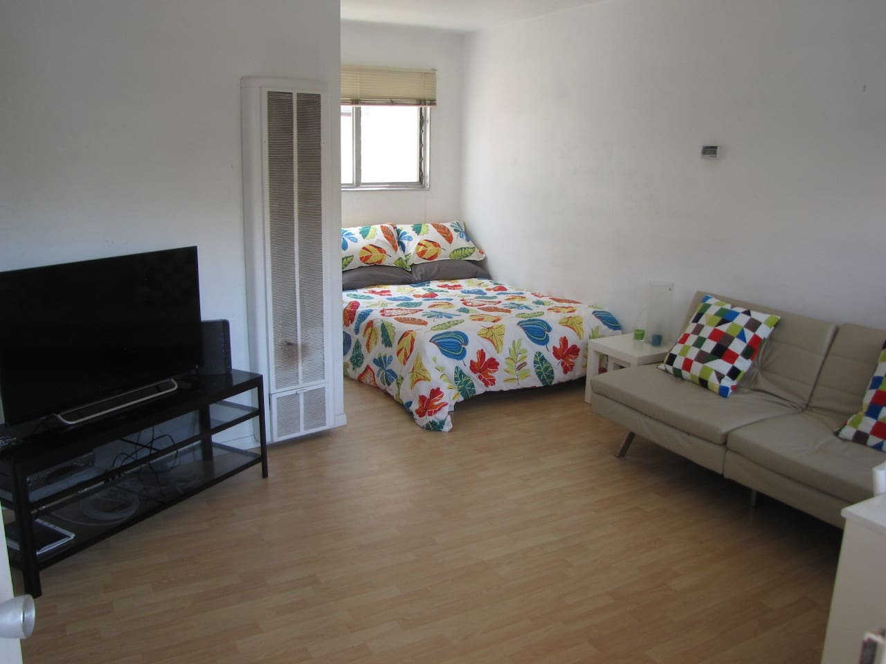 Main room, queen bed, sleeper sofa, cable tv and internet