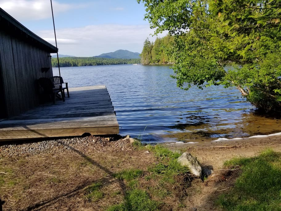 Beach and dock that are include in your private lakeside vacation.