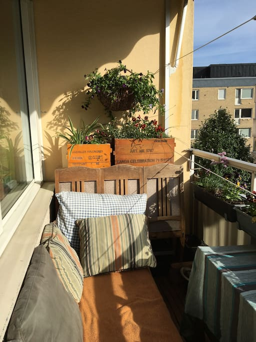Balcony with sun in the afternoon during the summer.